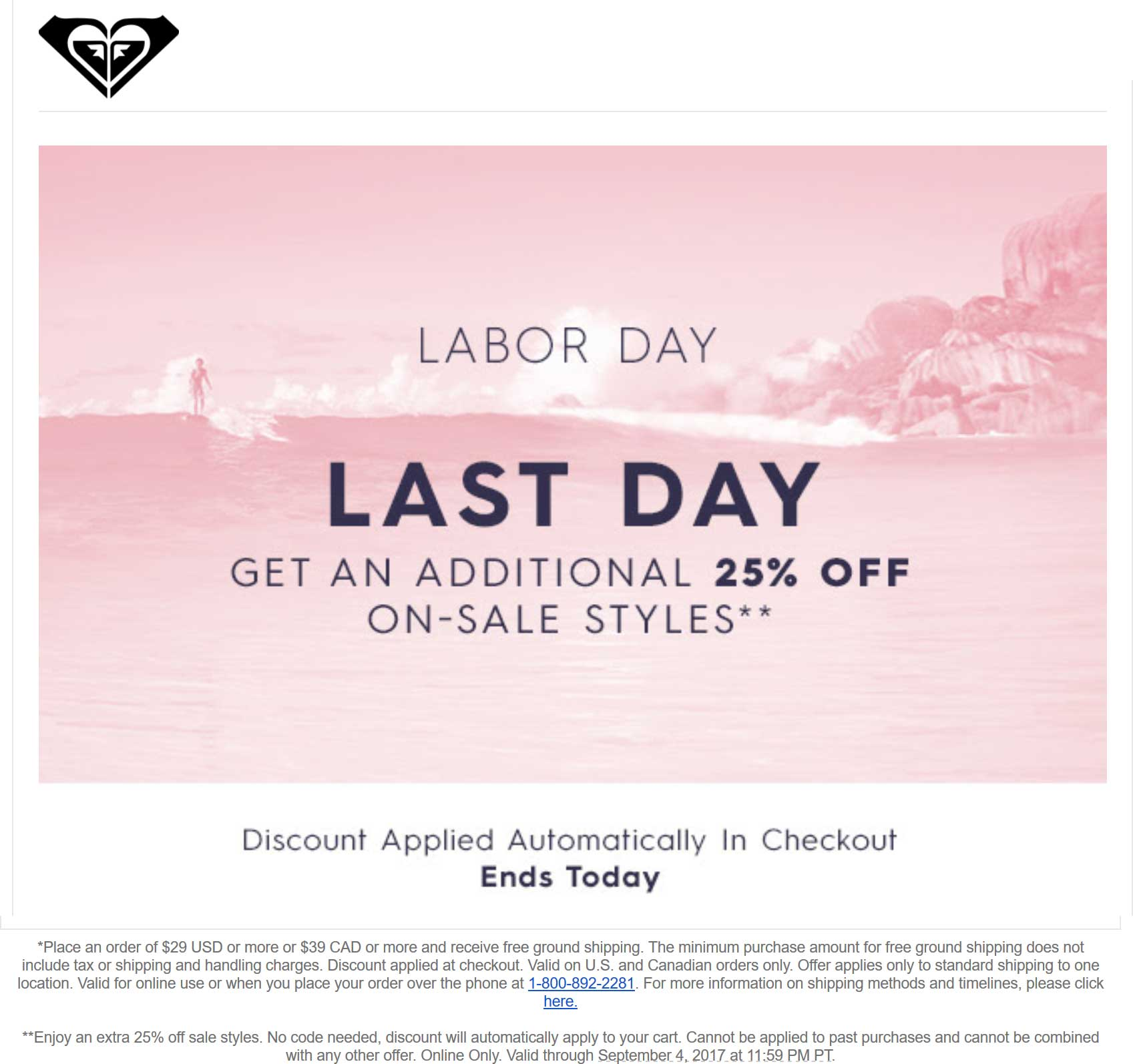 Roxy Coupon October 2017 Extra 25% off online today at Roxy
