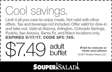 Souper Salad Coupon December 2018 $7.49 bottomless buffet at Souper Salad restaurants