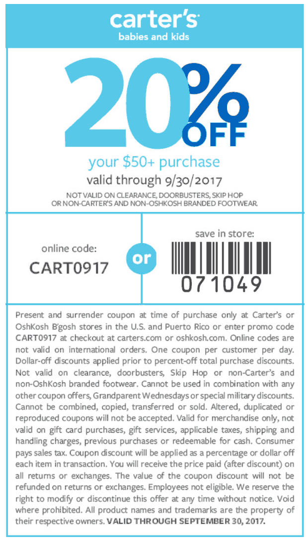 Carters.com Promo Coupon 20% off $50 at Carters, or online via promo code CART0917