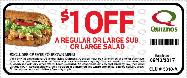 Quiznos Coupon December 2018 $1 off a sub or salad at Quiznos restaurants