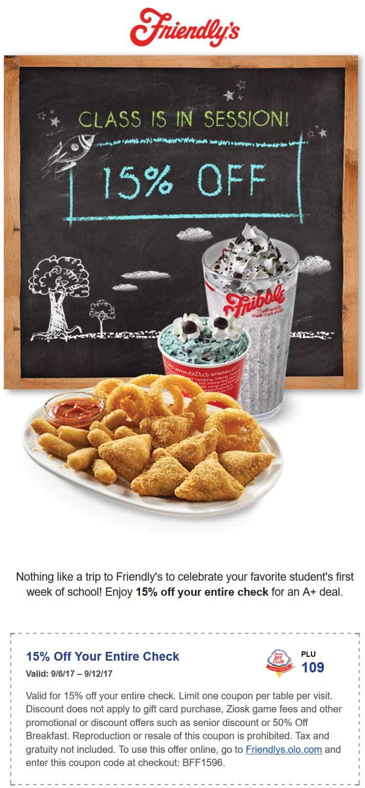 Friendlys.com Promo Coupon 15% off at Friendlys restaurants