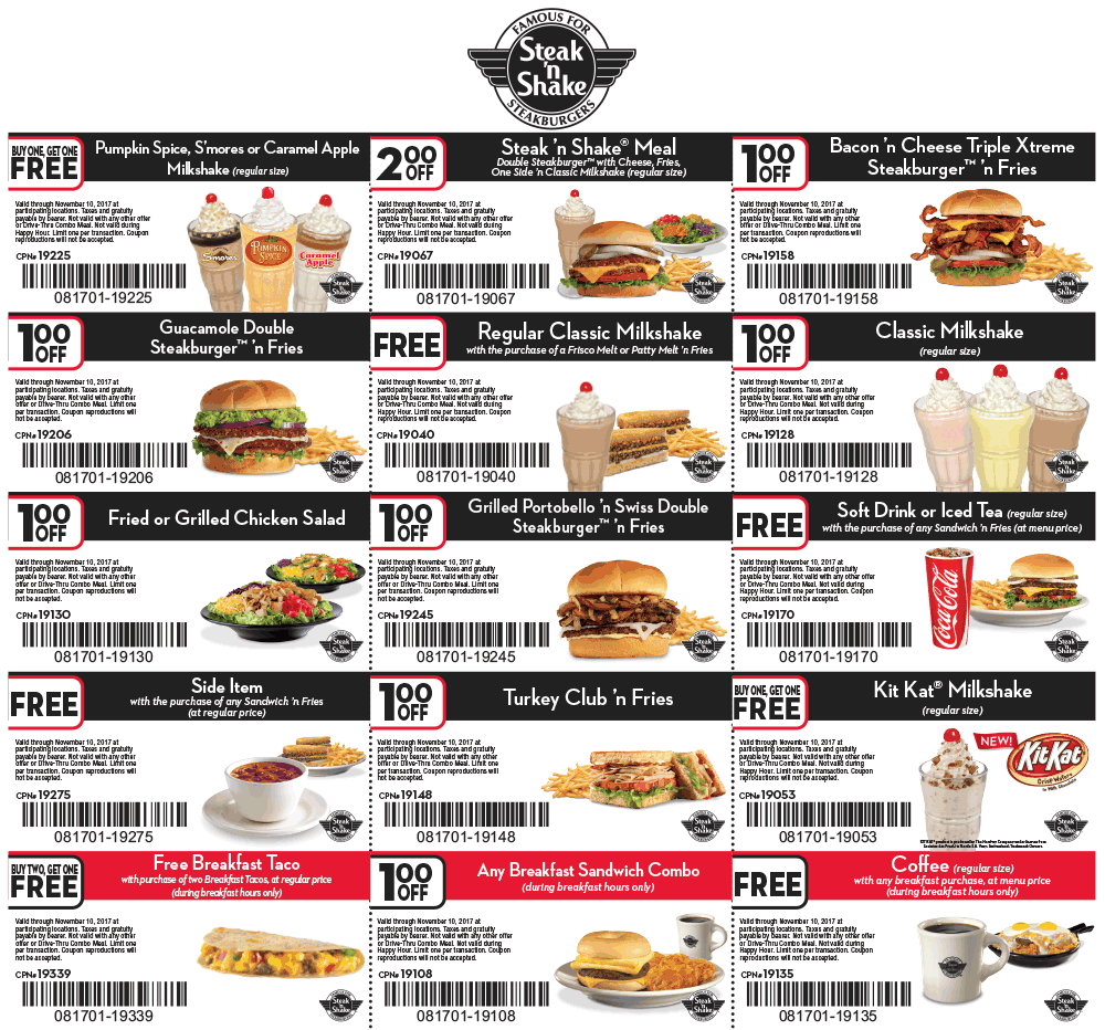 SteaknShake.com Promo Coupon Free coffee, shake, breakfast taco & more at Steak N Shake restaurants
