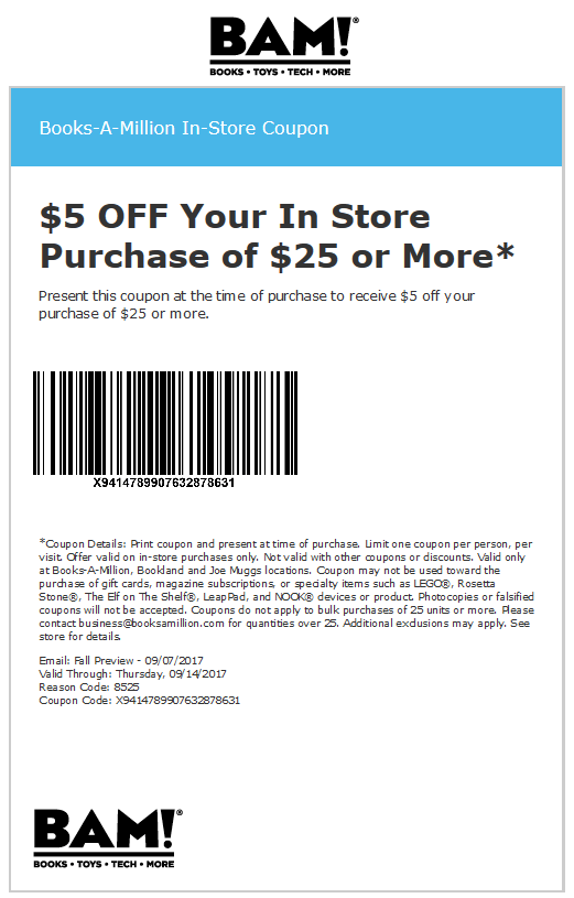 Books-A-Million Coupon March 2019 $5 off $25 at Books-A-Million