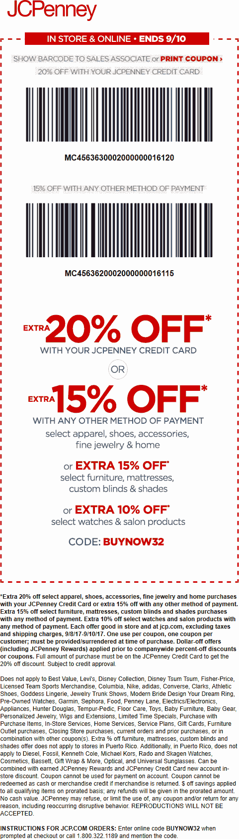 JCPenney Coupon October 2018 Extra 15% off at JCPenney, or online via promo code BUYNOW32 & 25% off $100 via SHOP34