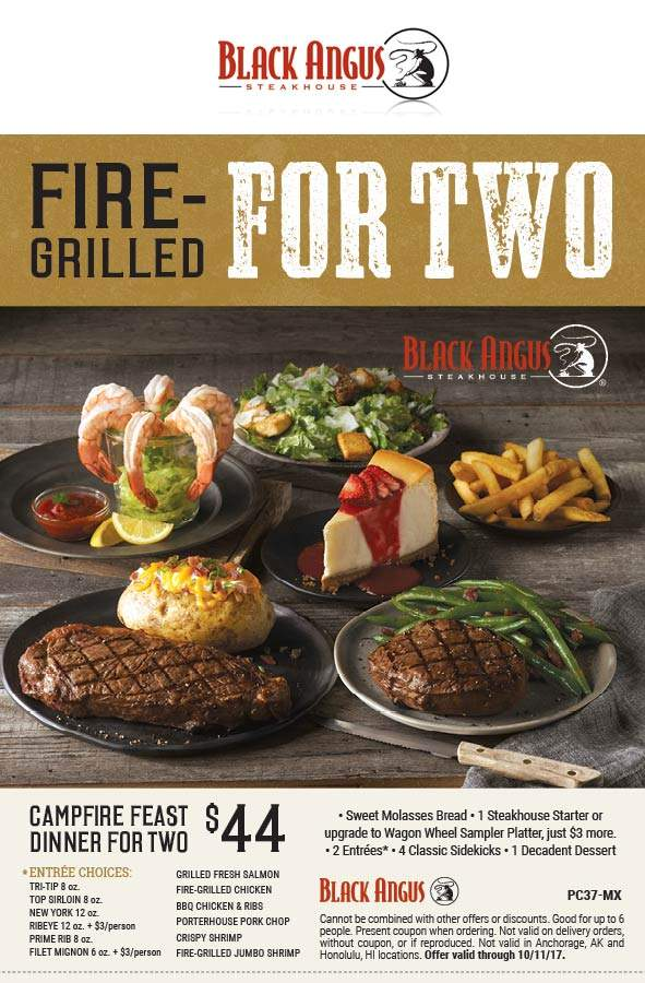 Black Angus Coupon March 2019 2 steaks + appetizer + salad + dessert = $44 at Black Angus steakhouse