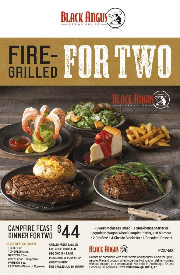Black Angus Coupon August 2018 2 steaks + appetizer + salad + dessert = $44 at Black Angus steakhouse