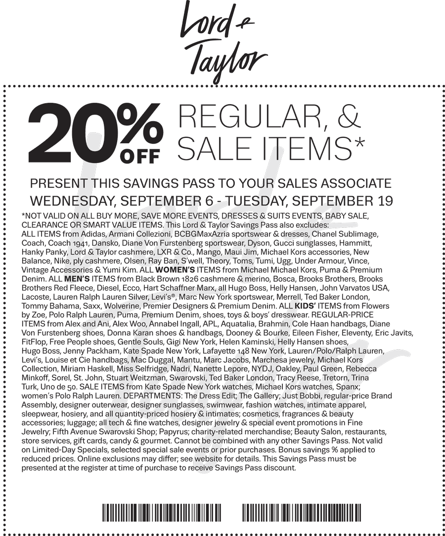 Lord & Taylor Coupon March 2019 Extra 20% off at Lord & Taylor, or online via promo code FALL