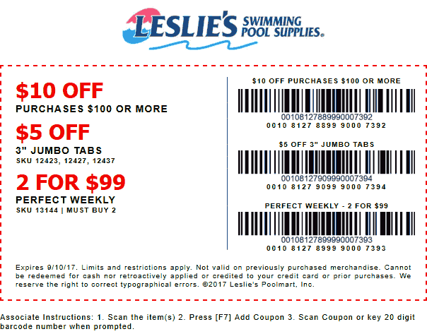 Leslies Pool Supplies Coupon October 2018 $10 off $100 at Leslies Pool Supplies