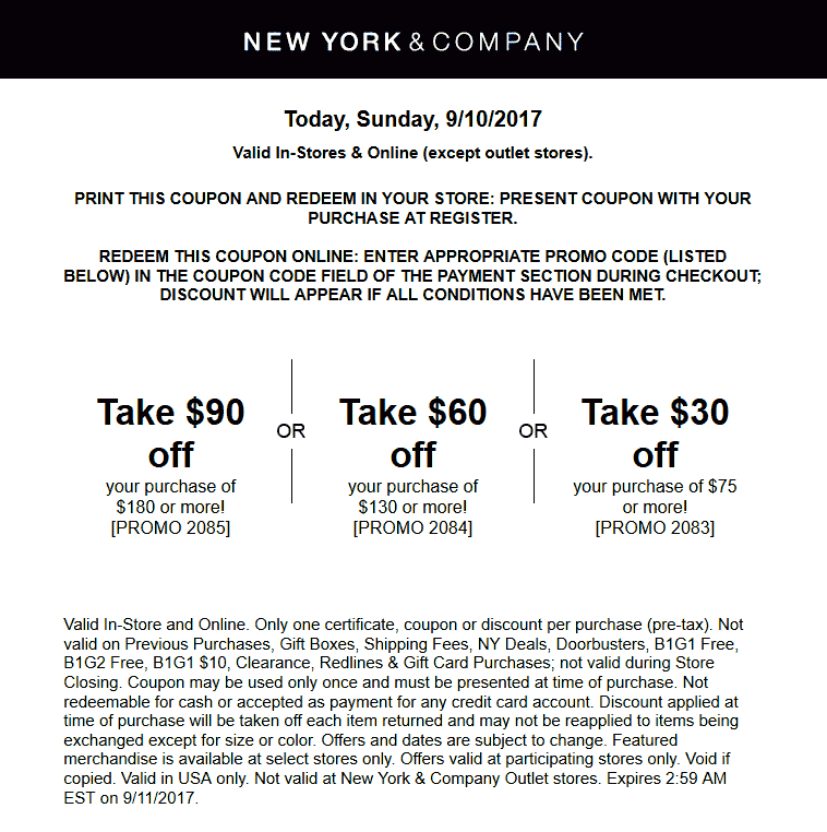 New York & Company Coupon January 2018 $30 off $75 & more today at New York & Company, or online via promo code 2083