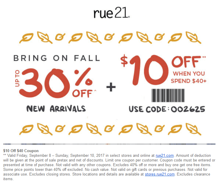 Rue21.com Promo Coupon $10 off $40 & more today at rue21, or online via promo code 002625