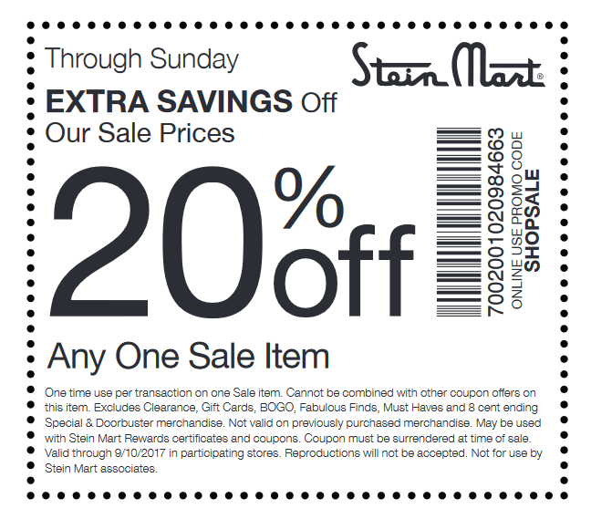 SteinMart.com Promo Coupon Extra 20% off a sale item today at Stein Mart, or online via promo code SHOPSALE