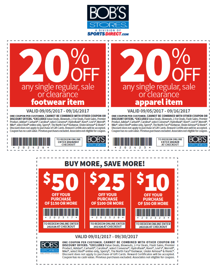 Bobs Stores Coupon December 2018 20% off a single item & more at Bobs Stores, or online via promo code 202429AT