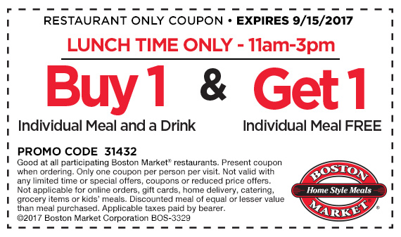 Boston Market Coupon August 2018 Second lunch free at Boston Market