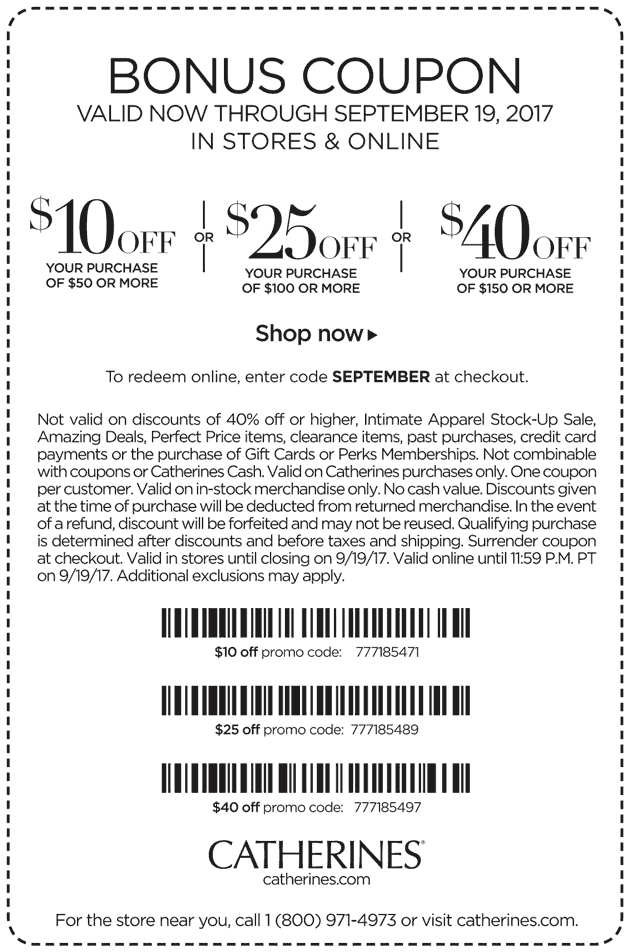 Catherines Coupon July 2018 $10 off $50 & more at Catherines, or online via promo code SEPTEMBER