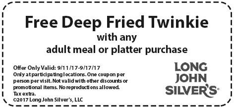 Long John Silvers Coupon October 2017 Free deep fried twinkie with your meal at Long John Silvers