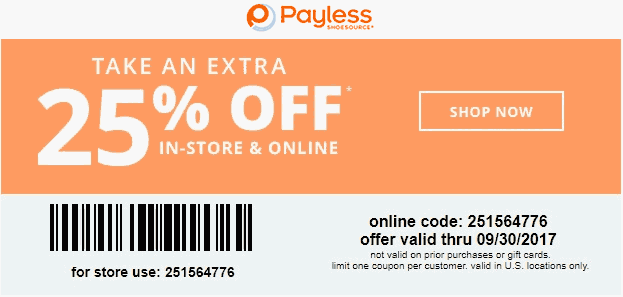 Payless Shoesource Coupon December 2018 25% off at Payless Shoesource, or online via promo code 251564776