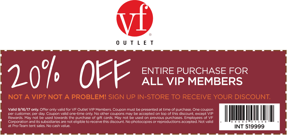 VF Outlet Coupon February 2019 20% off at VF Outlet