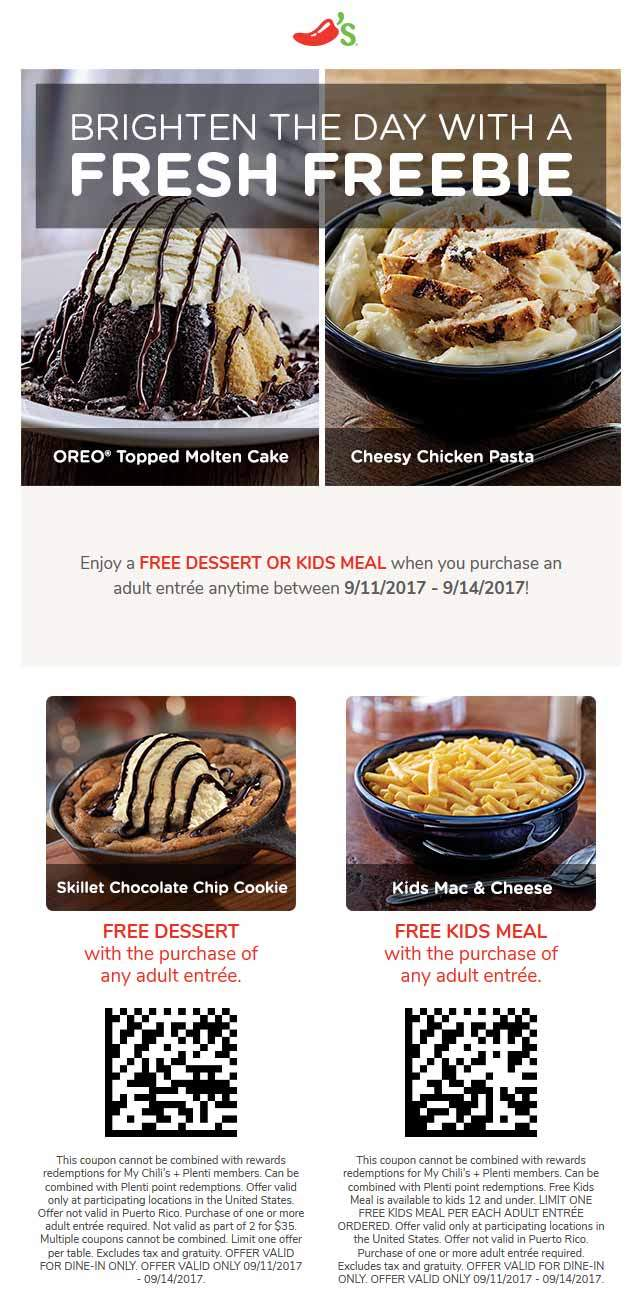 Chilis Coupon August 2018 Free dessert or kids meal with your entee at Chilis