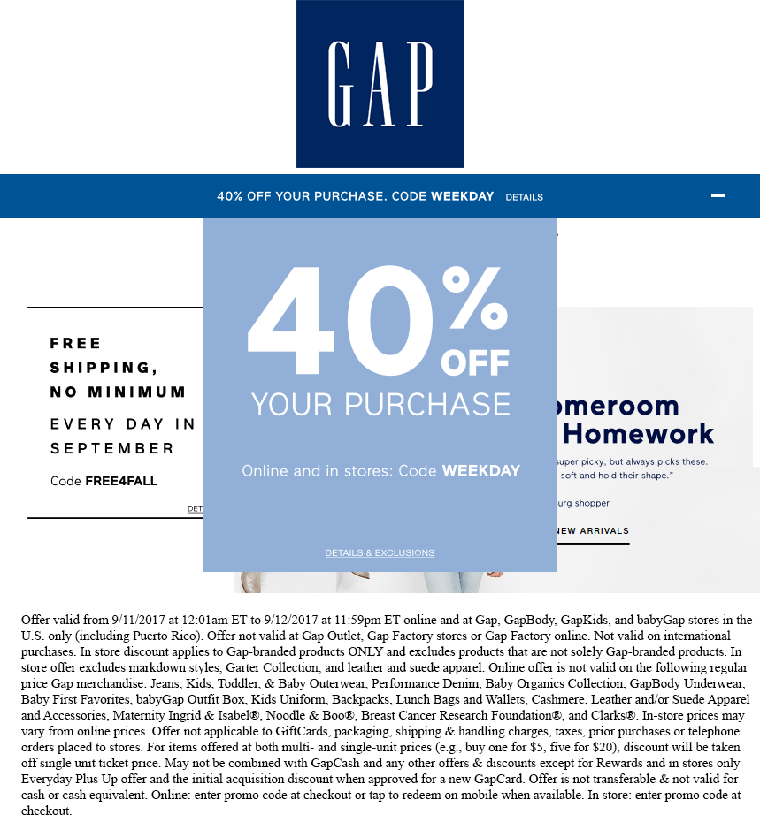 Gap Coupon January 2018 40% off at Gap, or online via promo code WEEKDAY
