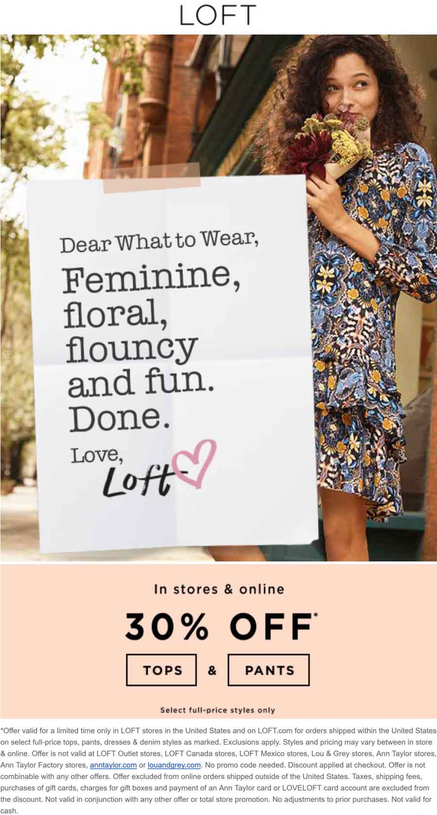 LOFT Coupon January 2018 30% off tops & pants at LOFT, ditto online