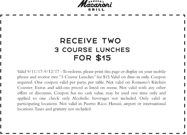 Macaroni Grill Coupon March 2018 Two 3 course lunches = $15 at Macaroni Grill