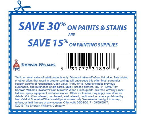 Sherwin Williams Coupon November 2017 30% off paints & stains at Sherwin Williams