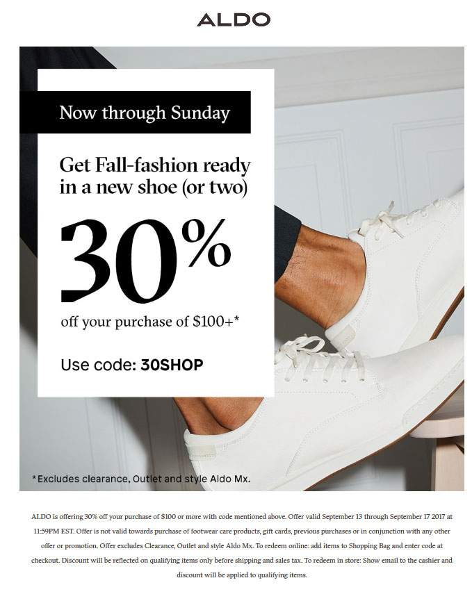 Aldo.com Promo Coupon 30% off $100 at Aldo, or online via promo code 30SHOP