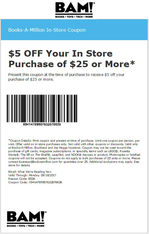 Books-A-Million Coupon April 2018 $5 off $25 at Books-A-Million