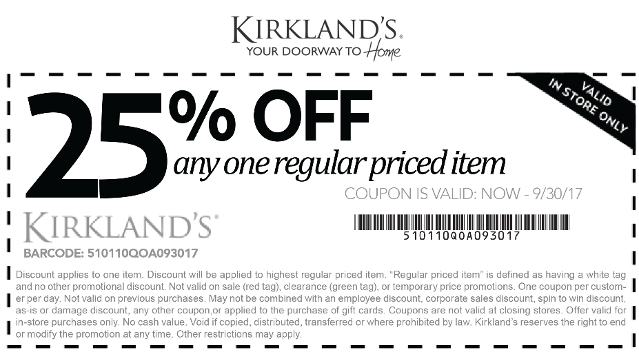 Kirklands Coupon January 2018 25% off a single item at Kirklands