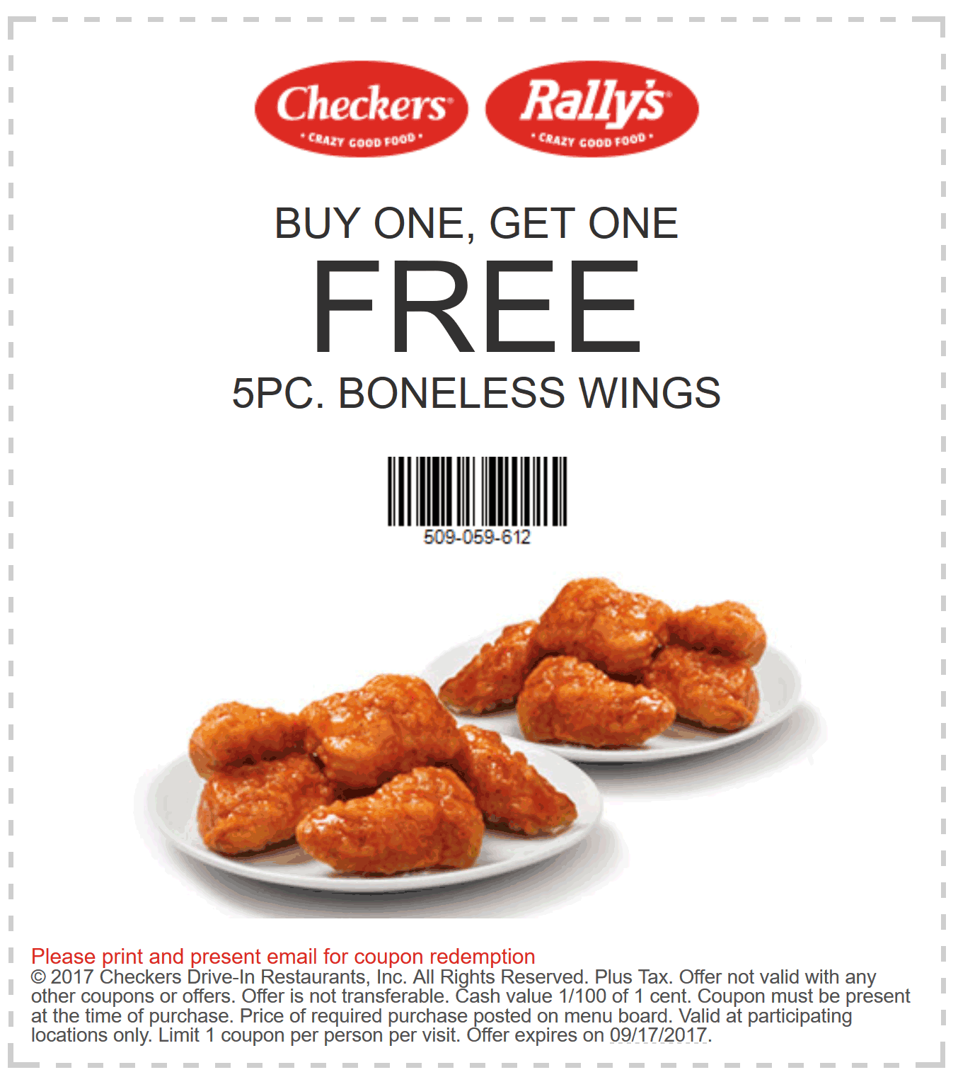 Checkers.com Promo Coupon Second 5pc boneless wings free at Rallys & Checkers restaurants