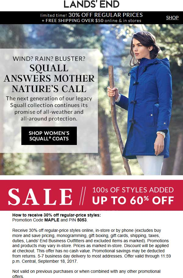 Lands End Coupon January 2018 30% off at Lands End, or online via promo code MAPLE and pin 5053