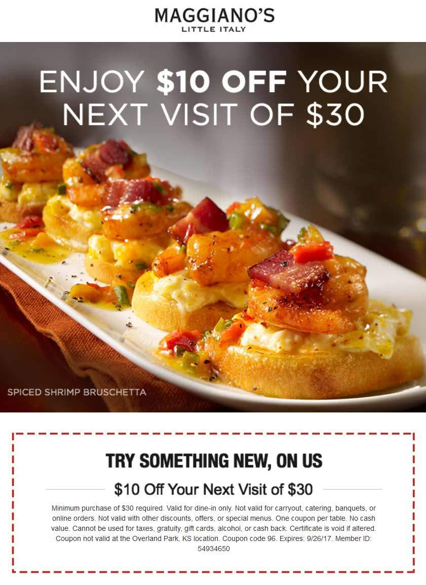 Maggianos Little Italy Coupon September 2018 $10 off $30 at Maggianos Little Italy restaurants