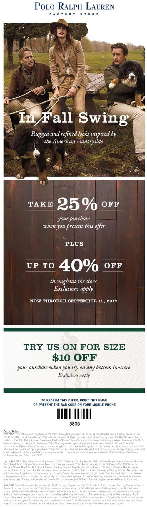 PoloRalphLaurenFactory.com Promo Coupon 25% off & more at Polo Ralph Lauren Factory stores
