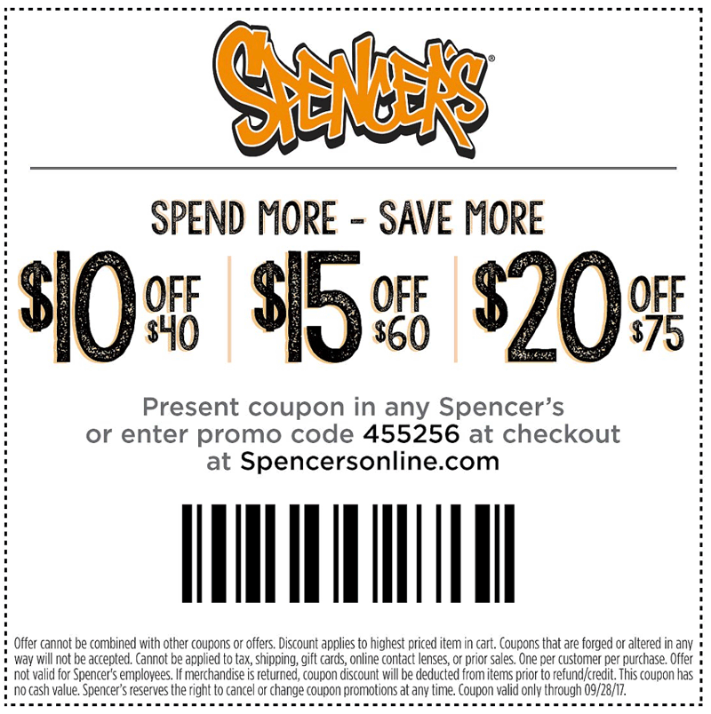 Spencers Coupon March 2019 $10 off $40 & more at Spencers, or online via promo code 455256