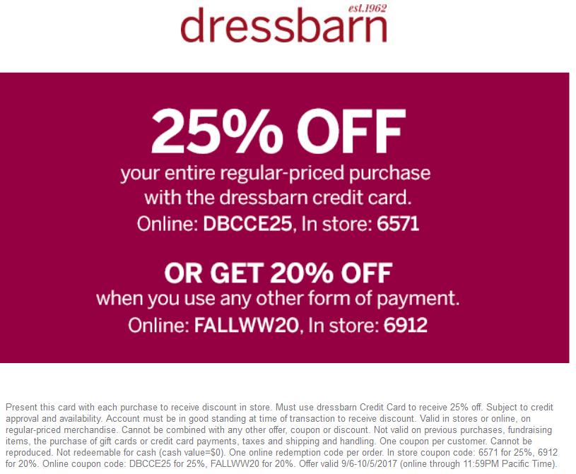 Dressbarn.com Promo Coupon 20% off at Dressbarn, or online via promo code FALLWW20