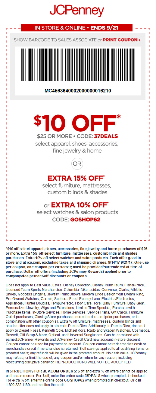 JCPenney Coupon October 2018 $10 off $25 at JCPenney, or online via promo code 37DEALS