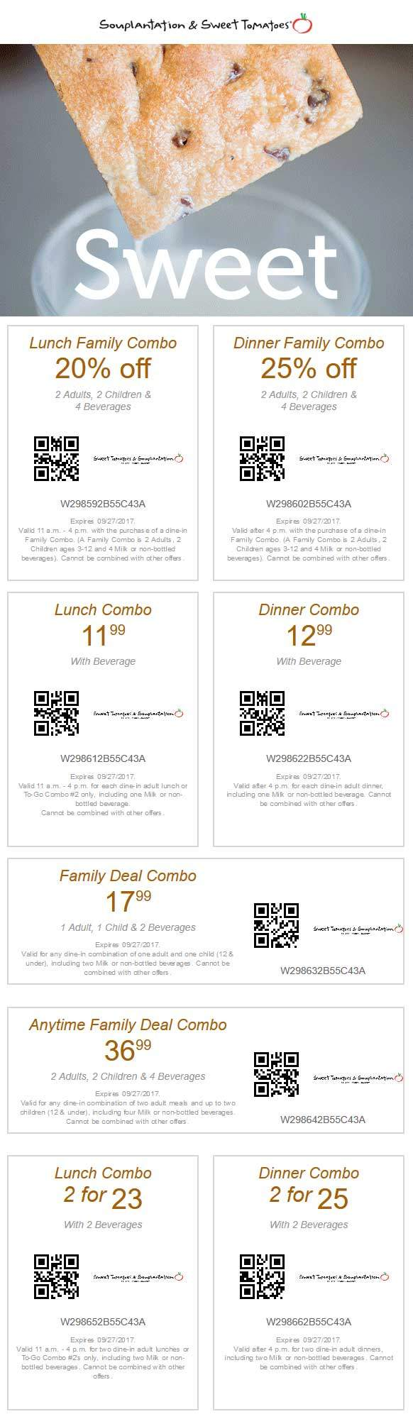 Sweet Tomatoes Coupon August 2018 20% off lunch, 25% off dinner at Souplantation & Sweet Tomatoes