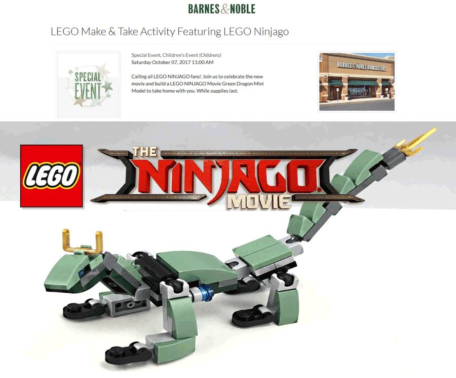 Barnes&Noble.com Promo Coupon Free LEGO Ninjago dragon mini model the 7th at Barnes & Noble