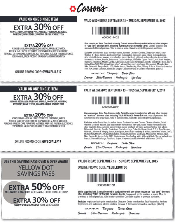 Carsons Coupon January 2018 Extra 30% off a single item & more at Carsons, Bon Ton & sister stores, or online via promo code GWBCFALLF17
