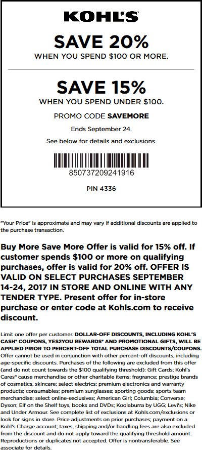 Kohls Coupon July 2018 15-20% off at Kohls, or online via promo code SAVEMORE