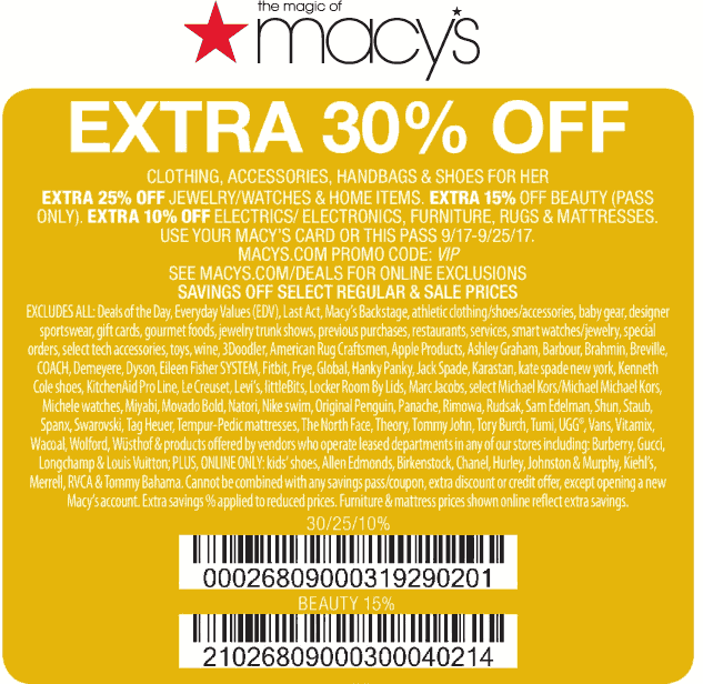 Macys.com Promo Coupon Extra 30% off at Macys, or online via promo code VIP