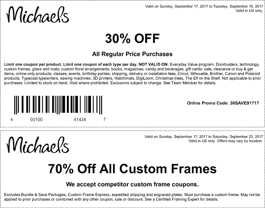 Michaels.com Promo Coupon 30% off the tab at Michaels, or online via promo code 30SAVE91717