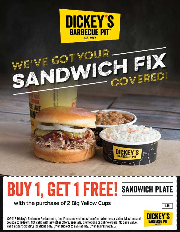 Dickeys Barbecue Pit Coupon December 2018 Second sandwich plate free at Dickeys Barbecue Pit
