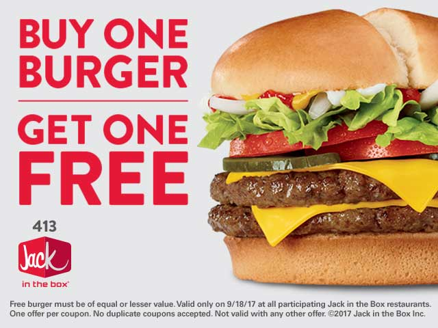 JackintheBox.com Promo Coupon Second cheeseburger free today at Jack in the Box