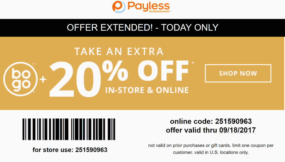 PaylessShoesource.com Promo Coupon 20% off today at Payless Shoesource, or online via promo code 251590963