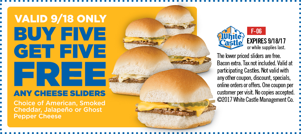WhiteCastle.com Promo Coupon 10 for 5 today at White Castle restaurants