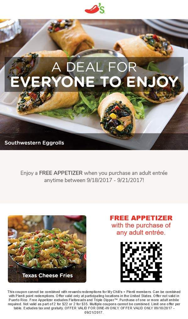 Chilis coupons free appetizer with your entree at chilis - Olive garden westminster maryland ...