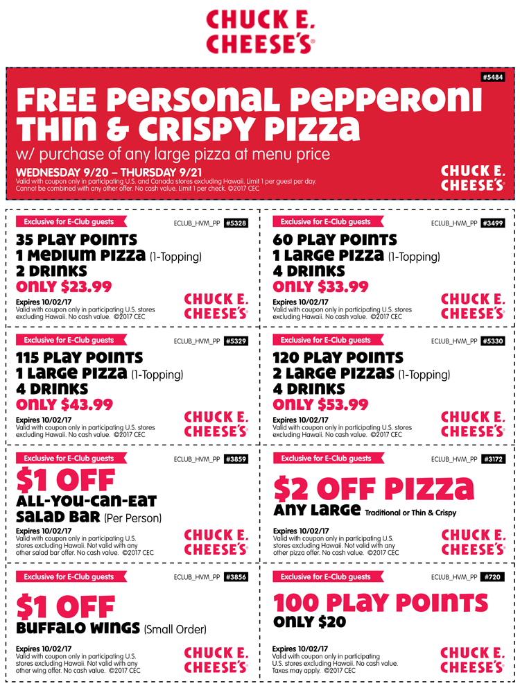 Chuck E. Cheese Coupon December 2018 100 credits for $20 & more at Chuck E. Cheese pizza