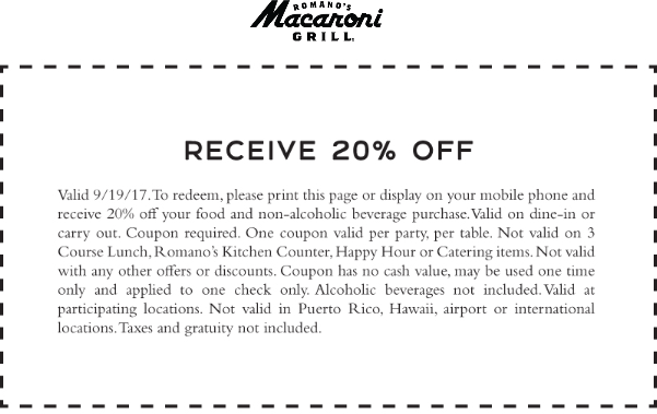 Macaroni Grill Coupon March 2018 20% off today at Macaroni Grill restaurants
