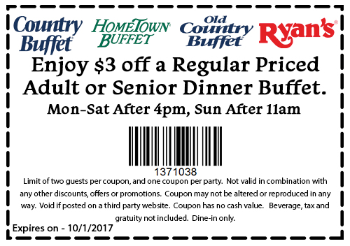 Old Country Buffet Coupon January 2018 $3 off dinner at Ryans, HomeTown Buffet & Old Country Buffet